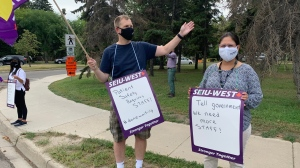 SEIU-West members demonstrate outside health care facilities in Saskatoon on Aug. 12, 2020. (Dan Shingoose/CTV Saskatoon)