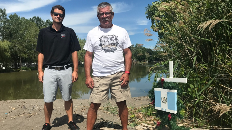 Kevin Sawatzky and Joe Fernandez at memorial for man who drowned in Lake Erie in Wheatley, Ont. on Wednesday, Aug. 12 2020. (Angelo Aversa/CTV Windsor)