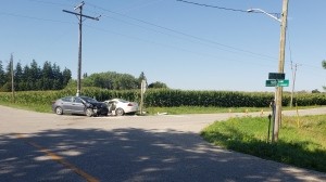 OPP at the scene of a two-car-crash at Maplewood Side Road and 16th Line near Tavistock. (Source: OPP)