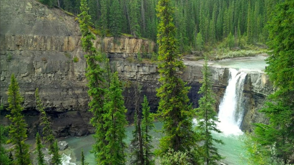 Crescent Falls, located on the Bighorn River in west-central Alberta, are shown. (Dawn Walton/CTV News Calgary)