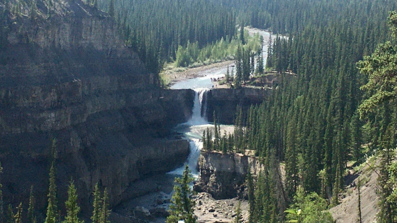The Crescent Falls, located on the Bighorn River in west-central Alberta, are shown. (Evan Klippenstein/CTV News Edmonton)