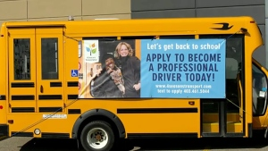 A Calgary transportation company launched a campaign Wednesday to hire bus drivers for the upcoming school year.