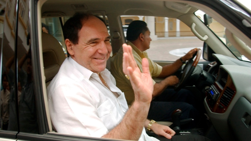 In this April 27, 2005 file photo, Ecuador's former President Abdala Bucaram leaves the Foreign Ministery in Panama City, where he sought political asylum after fleeing his country amid massive protests that forced the ouster of President Lucio Gutierrez. (AP Photo/Arnulfo Franco, File)
