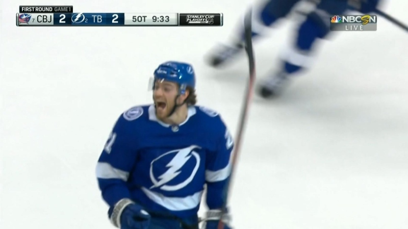 Brayden Point celebrates big after OT win