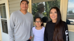 Lyle, Brianna and Charmaine Bear hope a family heirloom will be returned to them. (Creeson Agecoutay/CTV Saskatoon)