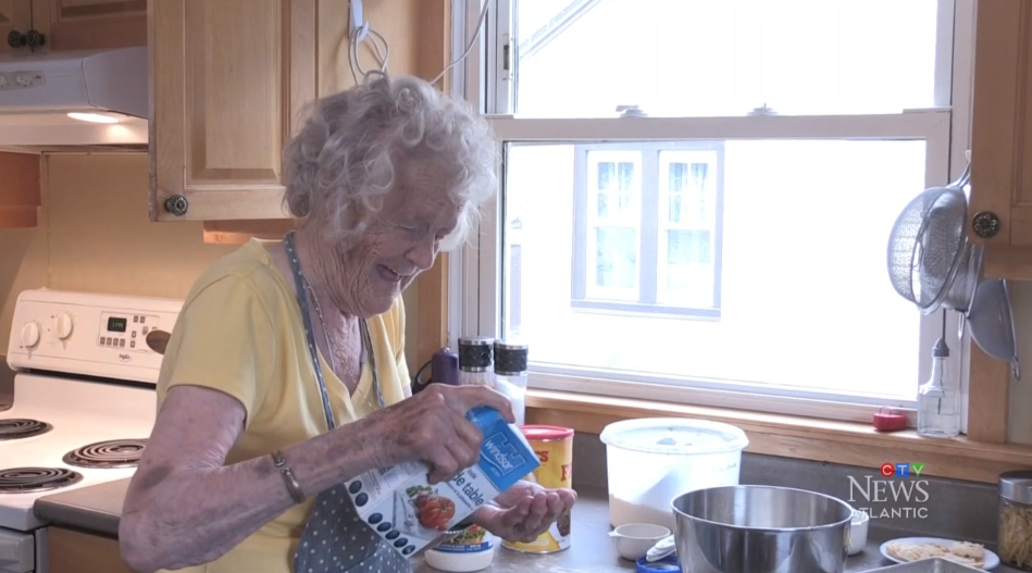 99-year-old Marian Arseneault once served her country, now she serves up pies, cakes, cookies and bread for friends and loved ones.