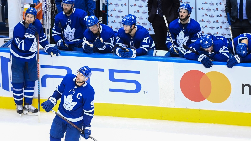 Toronto Maple Leafs captain John Tavares (91) and teammates react after they were eliminated by the Columbus Blue Jackets during third period NHL Eastern Conference Stanley Cup playoff action in Toronto on Sunday, August 9, 2020. THE CANADIAN PRESS/Nathan Denette