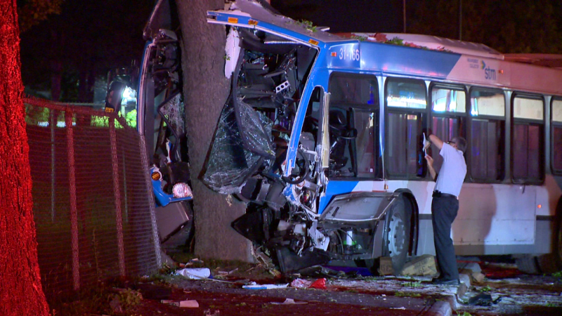 Police are trying to determine what caused the driver of a city bus to lose control of the vehicle and crash into a tree / Cosmo Santamaria, CTV Montreal
