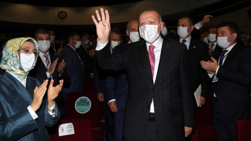 Turkey's President Recep Tayyip Erdogan arrives to address his party members, in Ankara, Turkey, Thursday, Aug. 13, 2020. (Turkish Presidency via AP, Pool)