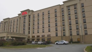 Halifax Regional Police respond to a shooting at a Hampton Inn and Suites in Dartmouth, N.S., on Aug. 13, 2020.