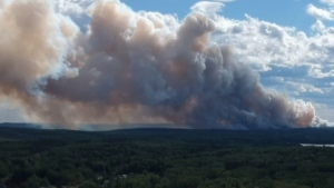 An aerial view of the forest fire near Red Lake, Ont. that has resulted in nearly the community's entire population leaving their homes.