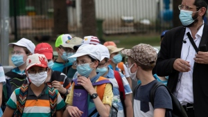 Israeli school children wear face masks to help prevent the spread of the coronavirus as they walk in Tel Aviv, Israel, Monday, July 6, 2020. (AP Photo/Sebastian Scheiner)