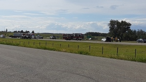 A collision involving an SUV and a truck pulling a trailer closed the eastbound lanes of the Yellowhead Highway on Aug. 12, 2020. (Courtesy: Paul Chaisson)