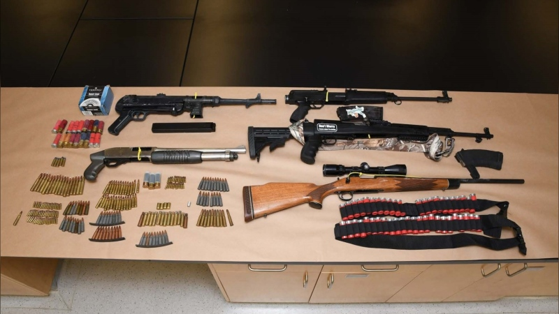 Edmonton police seized several illegal firearms after executing a search warrant at a Sherwood Park home Aug. 5, 2020. (Handout)