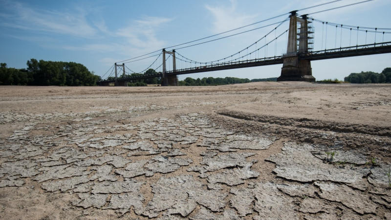 A picture shows a dry part of the bed of the River Loire at Montjean-sur-Loire, western France on July 24, 2019, as drought conditions prevail over much of western Europe. (Loic Venance/AFP/Getty Images/CNN)