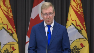 New Brunswick education minister Dominic Cardy gives an update on the province's back-to-school plan at a news conference on August 13, 2020.