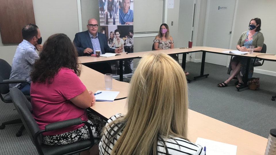 Liberal Leader Steven Del Duca participates in a round table discussion with front-line educators and their union leaders on a visit to Windsor, Ont. on Thursday, Aug. 13, 2020. (Michelle Maluske/CTV Windsor)