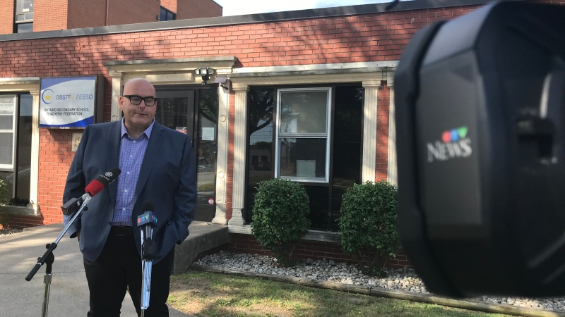Ontario Liberal Leader Steven Del Duca speaks with media outside the Windsor office of the Ontario Secondary School Teachers' Federation on Thursday, Aug. 13, 2020. (Michelle Maluske/CTV Windsor)