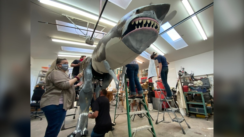 The Sharkasaurus suit has been beefed up for production of the movie. (Courtesy Spencer Estabrooks)