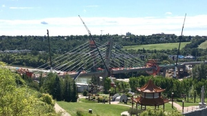 Construction on the Tawatinâ Bridge on Thursday, August 13, 2020. (Evan Klippenstein / CTV News Edmonton)