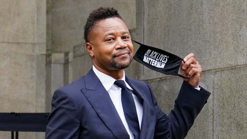 Cuba Gooding Jr. leaves court after a hearing in his sexual misconduct case, Thursday, Aug. 13, 2020, in New York. (AP Photo/John Minchillo)