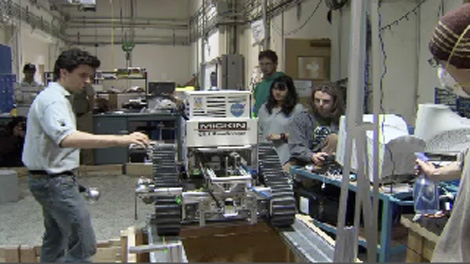 The University of British Columbia's Thunderbird Robotics club demonstrates their own hand-made moon dust excavating robot. October 10, 2009. (CTV)