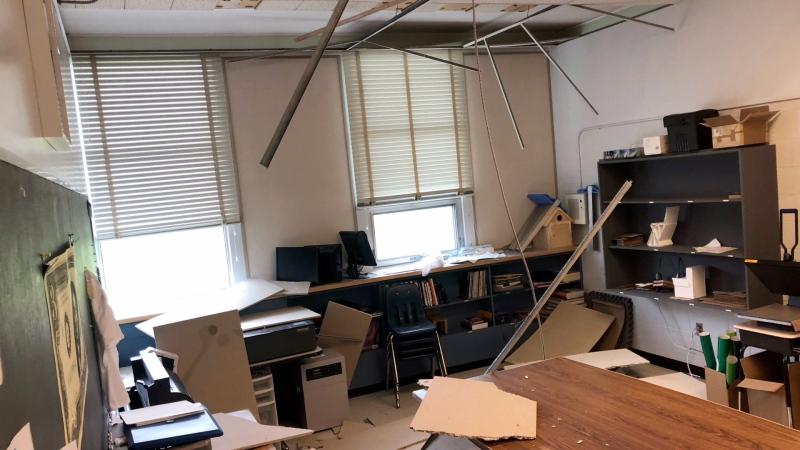 Damage inside the high school. (Courtesy Jeff Wilson)