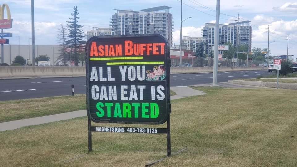 This sign was outside a southeast Calgary restaurant that has been ordered to stop buffet-style service.