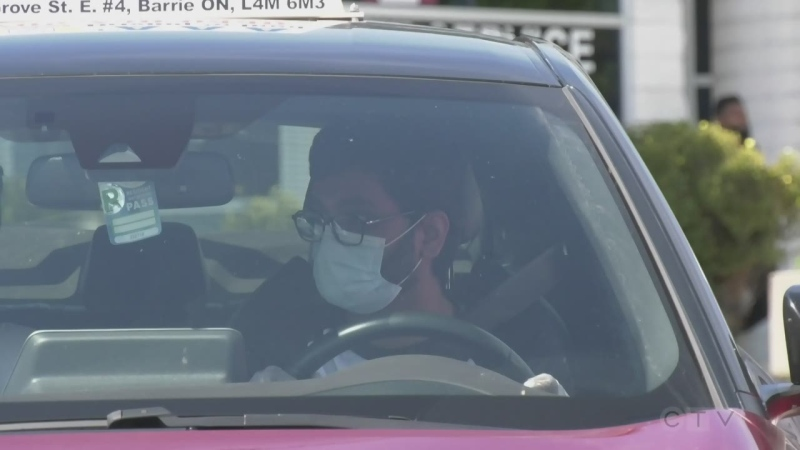 Driver takes his G2 license road test in Barrie, Ont., on Thurs., Aug. 13, 2020. (Rob Cooper/CTV News)