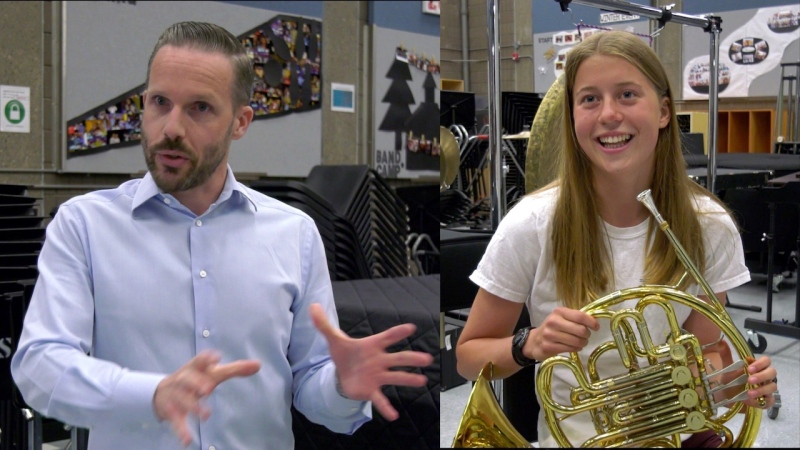 Brendan Hagen, left, is entering his 10th year as the learning leader for fine and performing arts at Western Canada High School. Elaine Gentleman, right, is an incoming Grade 12 student who plays the French horn, but can't play live on campus under the health guidelines.