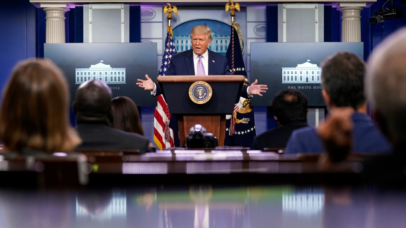 U.S. President Donald Trump speaks at a news conference in the James Brady Press Briefing Room at the White House, Thursday, Aug. 13, 2020, in Washington. (AP Photo/Andrew Harnik)