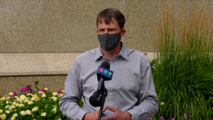 Saskatoon Mayor Charlie Clark speaks to reporters on Aug. 13, 2020. (Francois Biber/CTV Saskatoon)