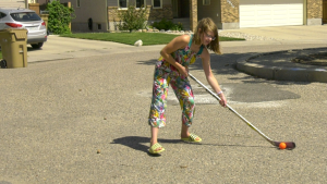 Annie Hodges, who plays U13 hockey for the Regina Rebels, practices outside. (Claire Hanna/CTV Regina)