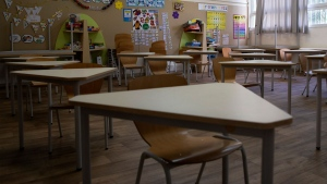 A classroom is empty at an elementary school in Tel Aviv, Israel, Thursday, April 30, 2020. Israel is considering reopening some elementary school classes starting Sunday. (AP Photo/Sebastian Scheiner)