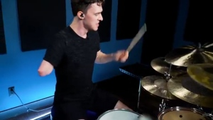 """Duality"" by the heavy metal band Slipknot is a challenging tune to play for most drummers. But 22-year-old Jack Thomas from Burnaby, does it with one arm. (YouTube/Drumeo)"