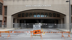 In this Aug. 5, 2020, file photo, The Wisconsin Center in Milwaukee. (AP Photo/Morry Gash, File)