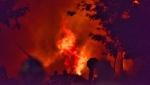 Fire follows an explosion on Woodman Avenue, Aug. 14, 2019. (Source: Joe O'Neil)