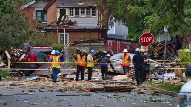 Area blocked off after the explosion on Woodman Avenue, Aug. 15, 2019. (Source: Joe O'Neil)