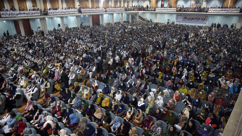 In this Aug. 7, 2020, file photo, delegates attend an Afghan Loya Jirga meeting in Kabul, Afghanistan. (AP Photo/Rahmat Gul)