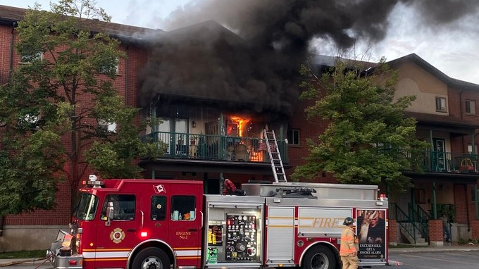 The London Fire Department work to put out an apartment fire at 654 King Street, August 14, 2020 (Source: London Fire Department)