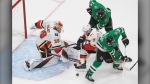 Dallas Stars' Joe Pavelski (16) and Jamie Benn (14) battle for the puck with Calgary Flames' T.J. Brodie (7) as goalie Cam Talbot (39) makes the save during the second period of a first round NHL Stanley Cup playoff hockey series in Edmonton, on Thursday Aug. 13, 2020. THE CANADIAN PRESS/Jason Franson