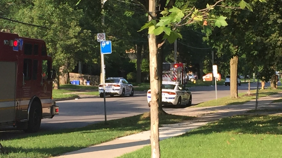 Emergency crew on scene of a severed gas line in London, Ont. on Friday, Aug. 14, 2020. (Marek Sutherland / CTV News)