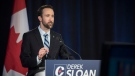 Then-Conservative Party of Canada leadership candidate Derek Sloan speaks during the English debate in Toronto on Thursday, June 18, 2020. THE CANADIAN PRESS/ Tijana Martin