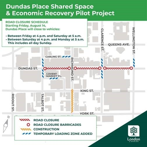 Dundas Place Space & Economic Recovery Pilot Project map, August 14, 2020 (Source: City of London)