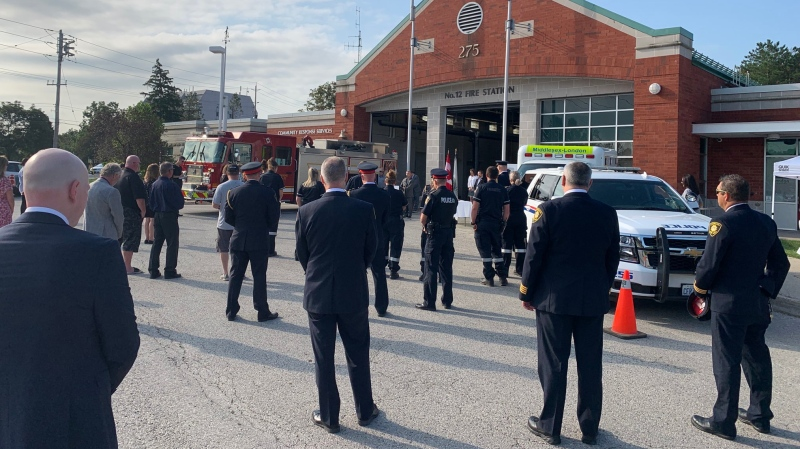 Officials and emergency responders gather to mark the one-year anniversary of the Woodman Avenue explosion in London, Ont., Friday, Aug. 14, 2020. (Source: London Fire Department / Twitter)