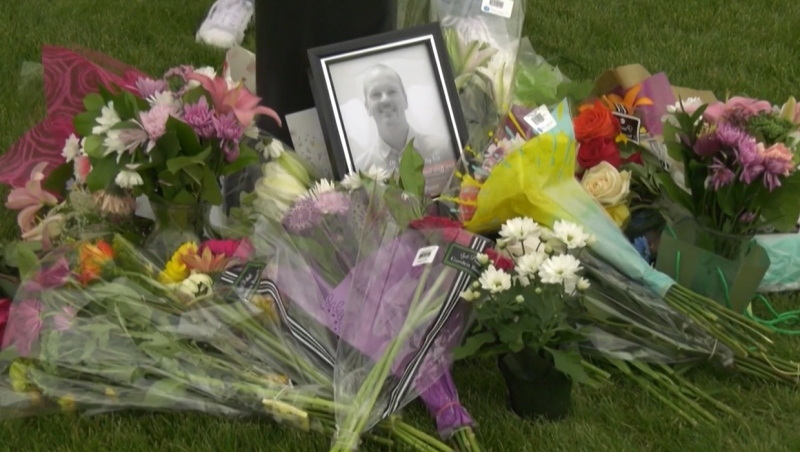 Memorial for Dr. Walter Reynolds outside the walk-in clinic in Red Deer's Village Mall