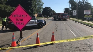 Police are at the scene of a crash on Union Street East on Aug. 14, 2020 (Dave Pettitt / CTV News Kitchener)