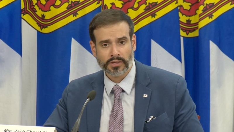 Nova Scotia Education Minister Zach Churchill provides an update on the province's back-to-school plan during a news conference on Aug. 14, 2020.