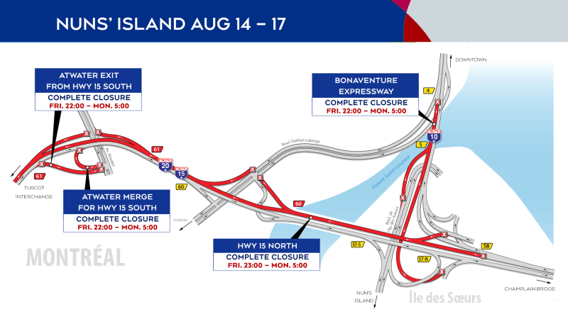 Due to construction projects between Aug. 14 and 17, 2020, there will be significant closures between the Champlain Bridge and the Turcot Interchange. SOURCE Mobility Montreal