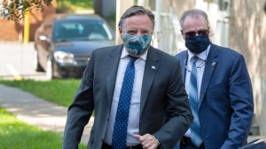 Quebec Premier Francois Legault arrives for a visit to a CHSLD seniors residence in L'Assomption, Que., Tuesday, Aug. 11, 2020.THE CANADIAN PRESS/Ryan Remiorz